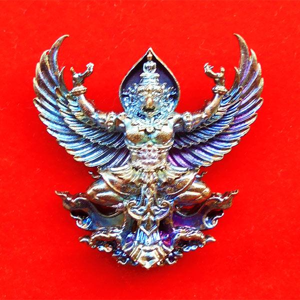 พญาครุฑมหาอำนาจ รุ่นแรก หลวงปู่ทวน วัดโป่งยาง จ.จันทรบุรี เนื้อชนวนผิวรุ้ง ปี 2560 เลขสวย 474