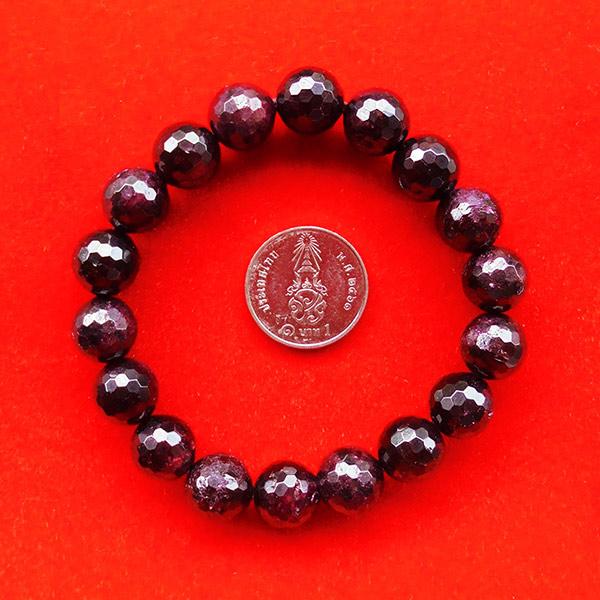 สร้อยข้อมือหินมงคลโกเมน พลอยกลมสีแดงแก่กล่ำ 10 มิล 18 เม็ด เสริมสิริมงคล มีโชคลาภ มั่งคั่งร่ำรวย 1 1