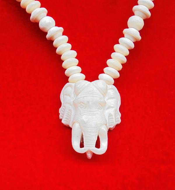 สร้อยกระดูก ตัวกลางหน้าช้าง งานแฮนเมด ของใหม่ ขนาดความยาว 24 นิ้ว สวมหัวได้ สวยคล้ายงาช้าง 2