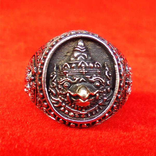 แหวนพญาครุฑหยุดนาค รุ่นปกาศิตเศรษฐี วัดกาหลง สมุทรปราการ เนื้อซิลเวอร์พลัส ปี2561 สุดขลัง สุดสวย