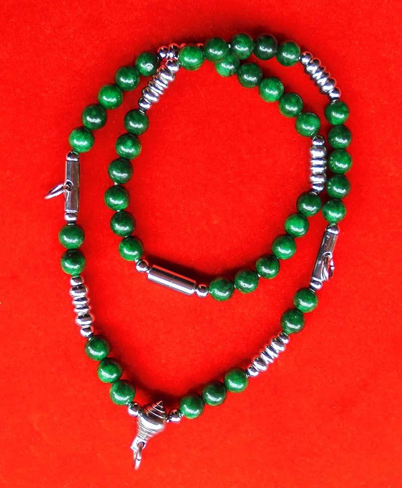 สร้อยหยกเขียว เม็ดหยกขนาด 8 มม.แขวนพระได้ 3 องค์ งานปราณึต ความยาวสร้อย 21 นิ้ว สวยมาก 1