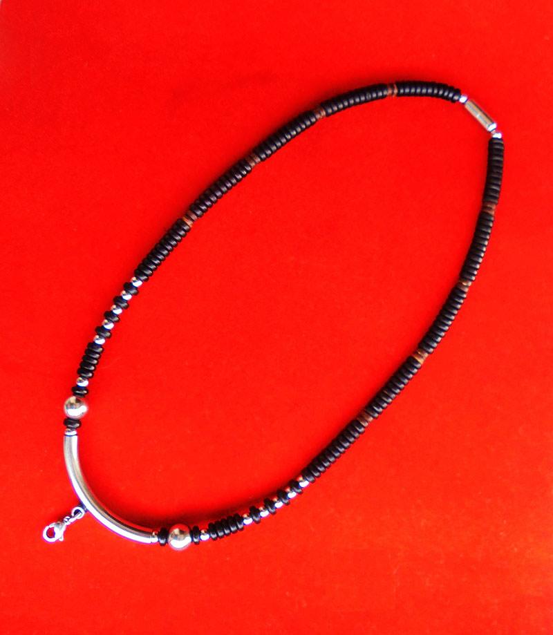 สร้อยกะลาสีดำ ตัวโค้งกลางแสตนเลส งานแฮนเมด ของใหม่ ขนาดความยาว 20 นิ้ว สวยคลาสสิค