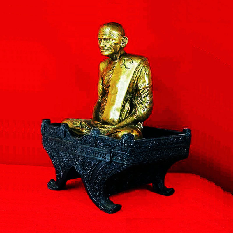 พระบูชา หลวงพ่อเงิน วัดบางคลาน 2 ถอด เนื้อทองเหลืองรมมันปู หน้าตัก 5 นิ้ว รุ่นตัดลูกนิมิต วัดห้วยเขน 1
