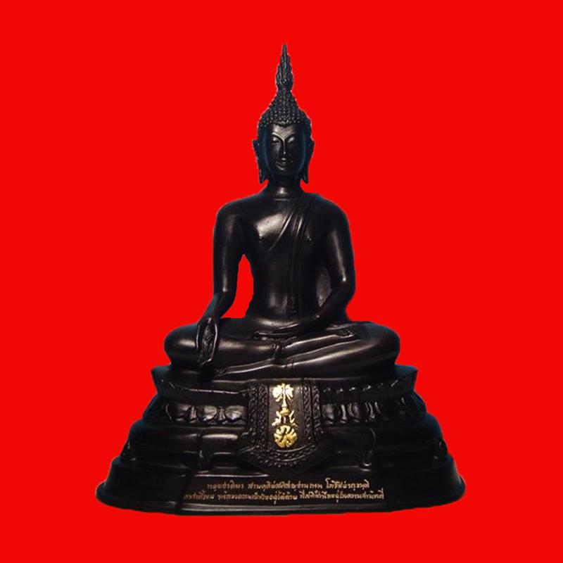 พระบูชา ภปร. ปี 2508 รุ่นย้อนยุค วัดบวรนิเวศ หน้าตัก 5 นิ้ว สูง 10 นิ้ว เนื้อทองเหลืองรมดำมันปู