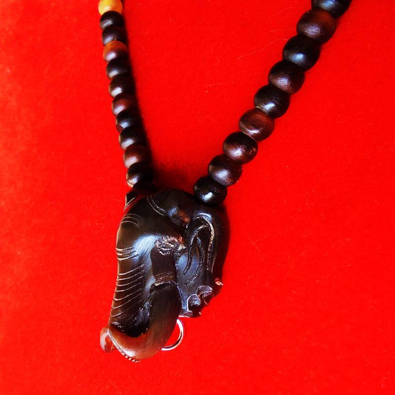 สร้อยเขาควายสีน้ำตาล ตัวกลางหน้าช้าง งานแฮนเมด ของใหม่ ขนาดความยาว 25 นิ้ว สวยคลาสสิค 2