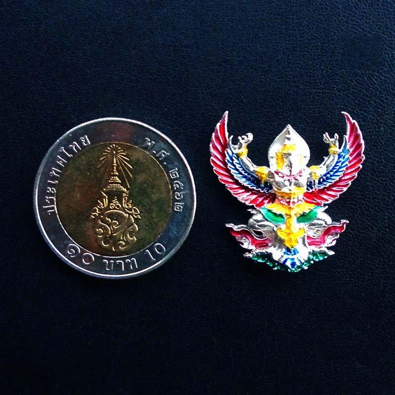 1 ใน 399 พญาครุฑราชาโชค รุ่นแรก เนื้อเงินลงยา หลวงปู่ดำ ทีปธัมโม สำนักสงฆ์สมุนไพร จันทบุรี เล็ก สวย 2