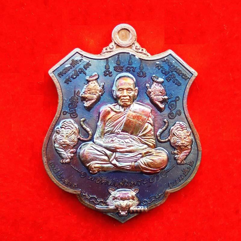 เหรียญ รุ่นพยัคฆ์เจ้าพระยา หลวงพ่อพัฒน์ วัดห้วยด้วน เนื้อทองแดงมันปูลงยาสีฟ้า ปี 2563 เลข 3883