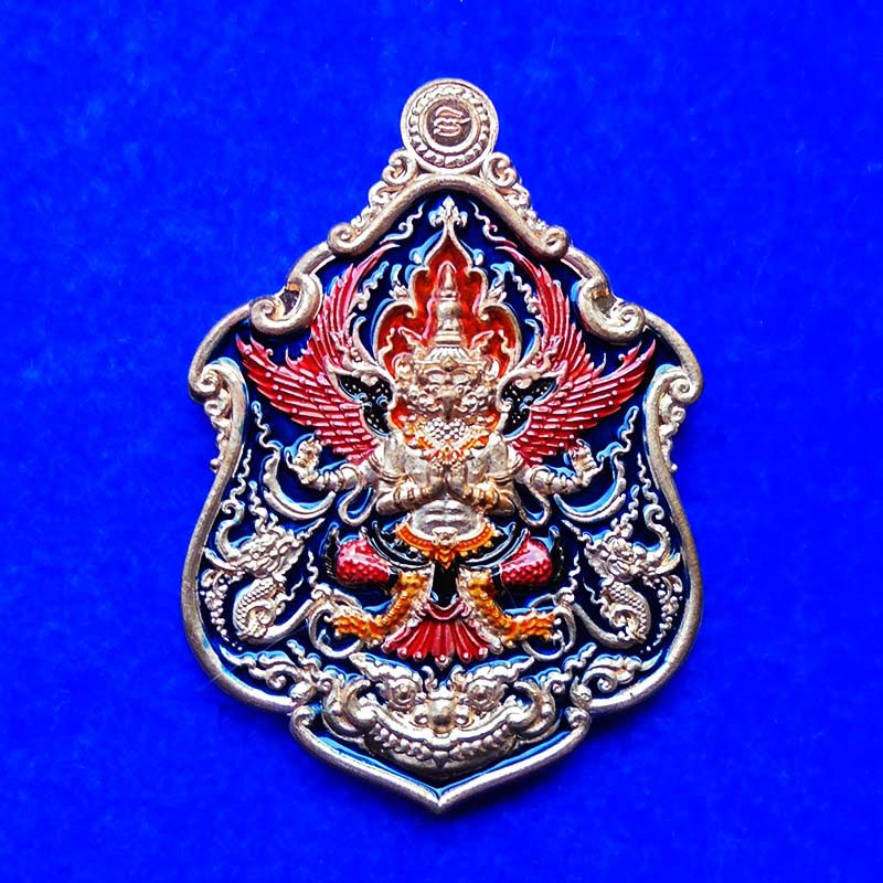 เหรียญพญาครุฑ รุ่นเจ้าสัวเวนไตย หลวงพ่อฟู วัดบางสมัคร เนื้อทองแดงลงยา ปี 2563 เลขสวย 212 สวยเข้มขลัง