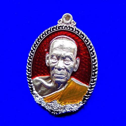 เหรียญรุ่นทัพศัตรูพ่าย หลวงพ่อพัฒน์ วัดห้วยด้วน เนื้ออัลปาก้า ลงยาแดง ขอบดำ ปี 2564 เลข 468 1