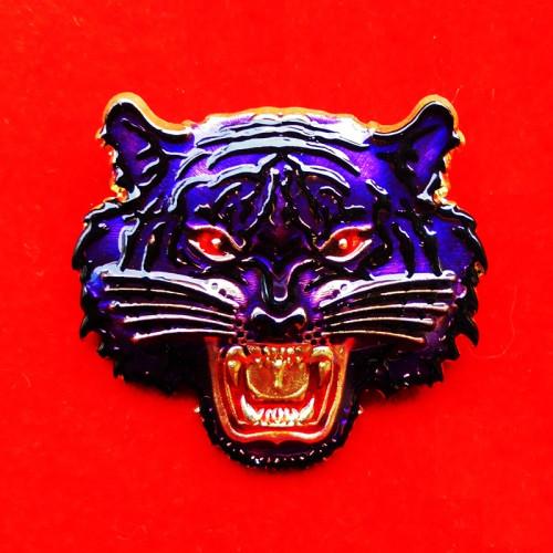 เหรียญหน้าเสือ รุ่นพยัคฆ์มหาบารมี 2 หลวงปู่บุญมา สำนักสงฆ์เขาแก้วทอง เนื้อทองฝาบาตรลงยา เลขสวย 74