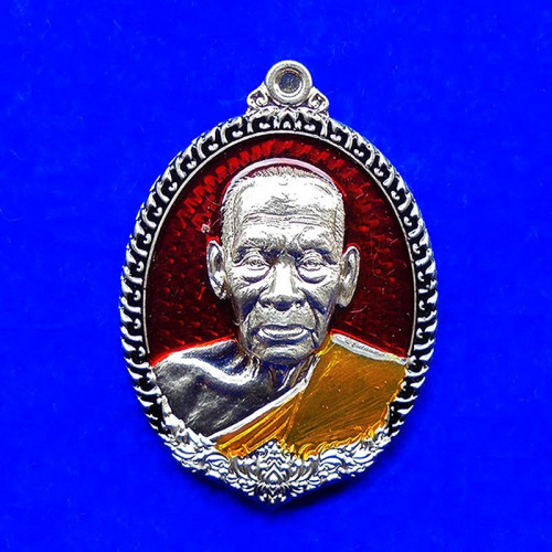 เหรียญรุ่นทัพศัตรูพ่าย หลวงพ่อพัฒน์ วัดห้วยด้วน เนื้ออัลปาก้า ลงยาแดง ขอบดำ ปี 2564 เลข 468
