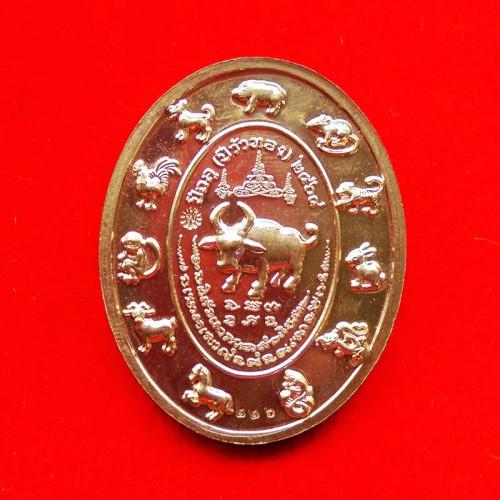 เหรียญเจริญทรัพย์พูลทวี 12 นักษัตร หลวงพ่อพัฒน์ วัดห้วยด้วน เนื้อสัตตะลงยาหน้ากากนวะ ปี 2563 เลข 226 2