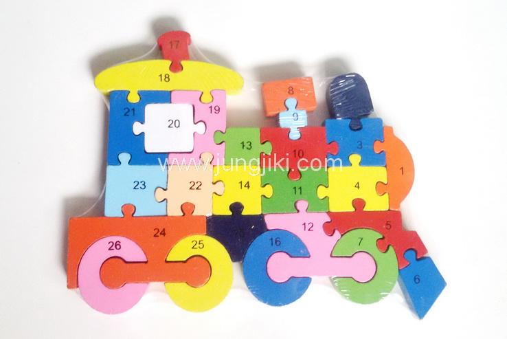 จิ๊กซอว์ไม้รูปรถต่างๆ  เรียงตามอักษรอังกฤษและตัวเลข