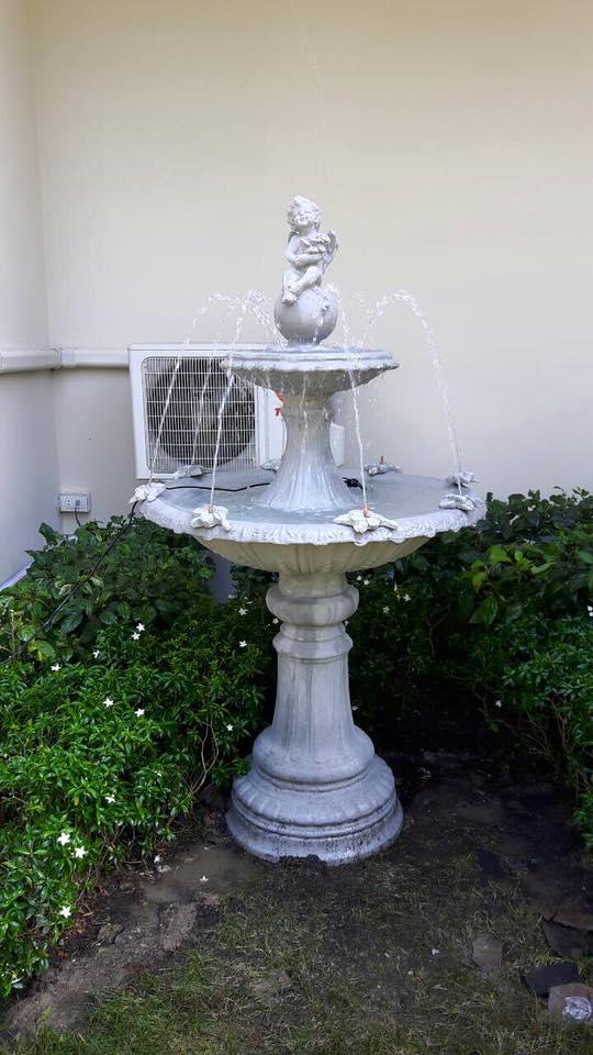 น้ำพุโรมันลายหยักปูนเปลือย 90 cm.