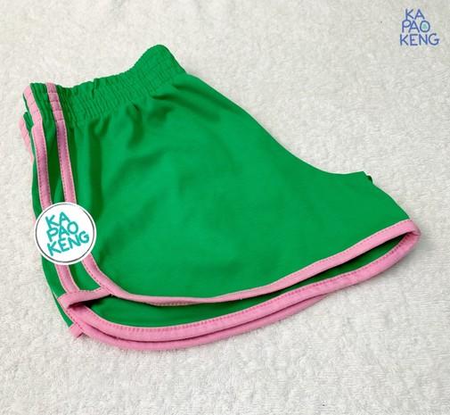 กางเกงขาสั้นสีเขียวแถบชมพู