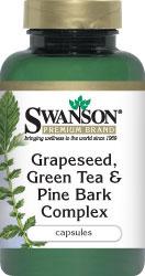 Swanson Grape Seed, Green Tea  Pine Bark Complex 60 Caps ลดฝ้ากระ รวมสุดยอดต้านอนุมูลอิสระ