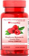 Puritan's Pride Raspberry Ketones Green Tea 600 mg. 60เม็ด ลดน้ำหนักสูตรนี้ราสเบอรี่คีโตน เข้มข้นสุด
