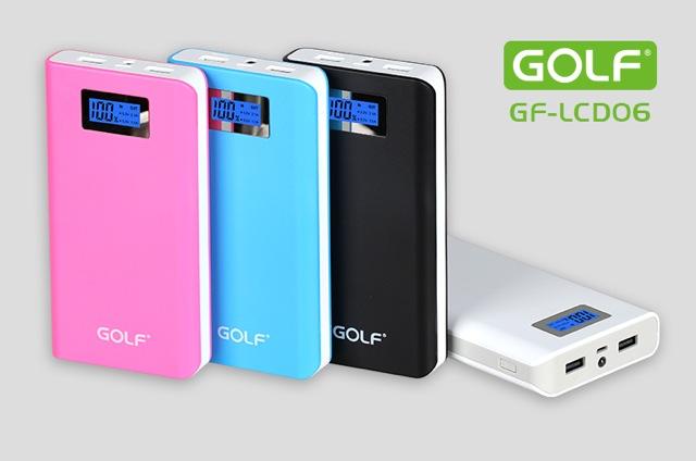 Power bank Golf 15600 mAh รุ่น GF-LCD06 หน้าจอ LCD แบตสำรองคุณภาพดีเยี่ยม ดีไซร์สวย ใช้วัสดุดี
