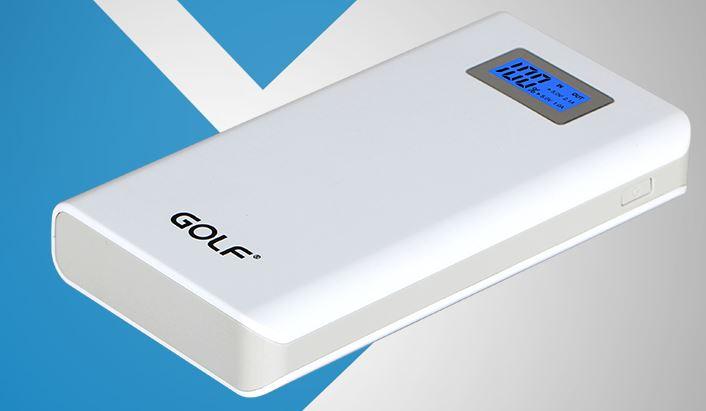 Power bank Golf 15600 mAh รุ่น GF-LCD06 หน้าจอ LCD แบตสำรองคุณภาพดีเยี่ยม ดีไซน์สวย ใช้วัสดุดี สีขาว