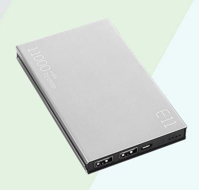 Power Bank ELOOP E11 11000mAh ของแท้ แบตสำรองคุณภาพเยี่ยม วัสดุดี ทนทาน สีเงิน