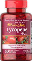Puritan Lycopene 40 mg 60 Softgel สารสกัดจากมะเขือเทศ เพื่อผิวขาวกระจ่างใสอมชมพู ไร้ริ้วรอย