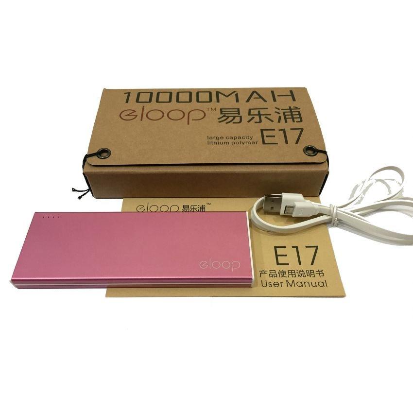 Power Bank eloop E17 10000mAh แบตสำรองโฉมใหม่ ทั้งรูปทรงและสีสัน ดีไซด์สวย ขนาดกระทัดรัด สีชมพู