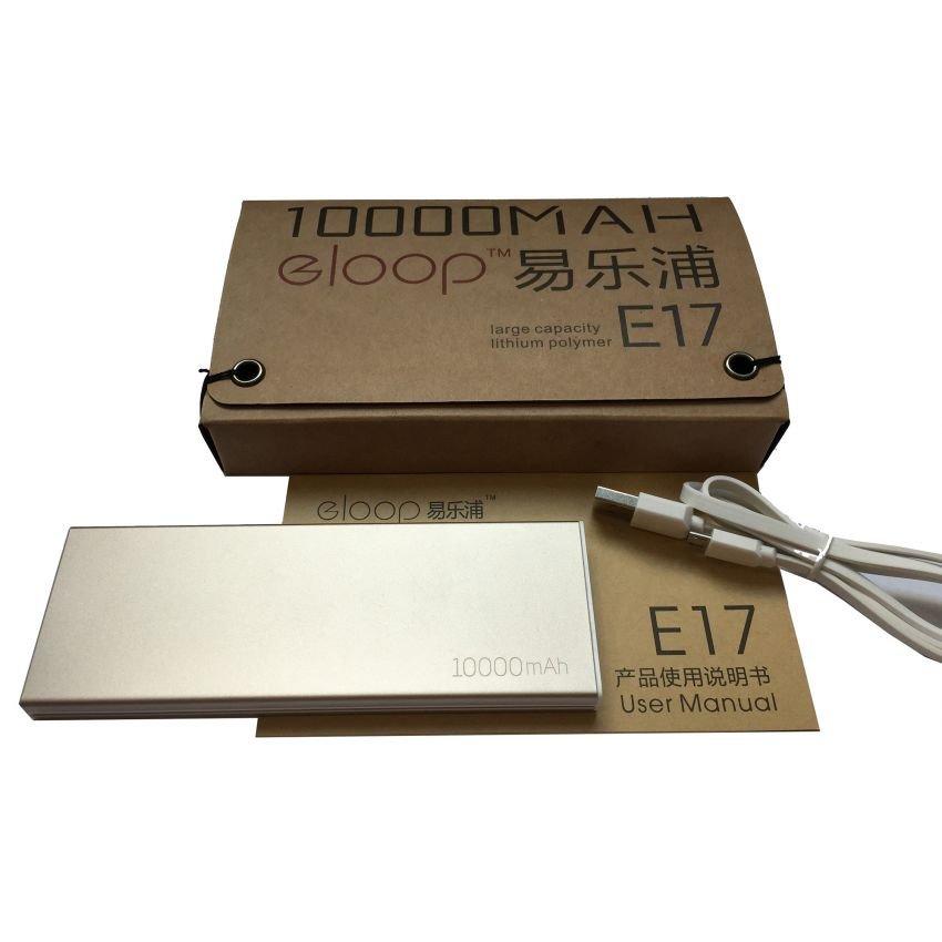Power Bank eloop E17 10000mAh แบตสำรองโฉมใหม่ ทั้งรูปทรงและสีสัน ดีไซด์สวย ขนาดกระทัดรัด สีทอง