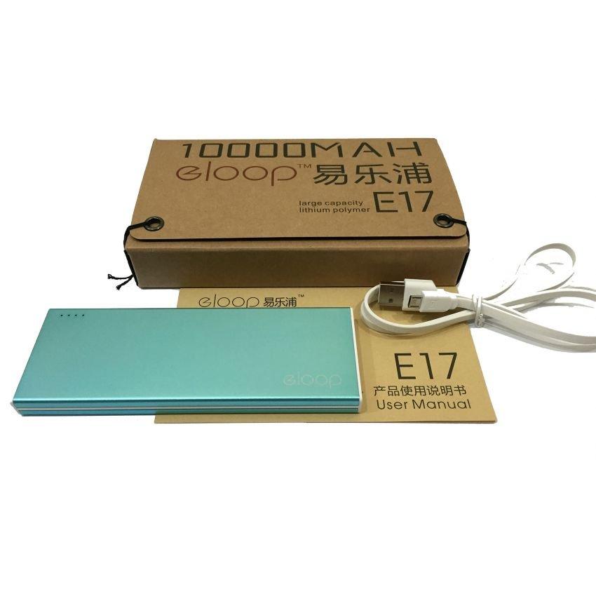 Power Bank eloop E17 10000mAh แบตสำรองโฉมใหม่ ทั้งรูปทรงและสีสัน ดีไซด์สวย ขนาดกระทัดรัด สีฟ้า