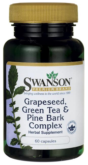 Swanson Grape Seed, Green Tea, Pine Bark Complex 60 Caps รวมสารต้านอนุมูลอิสระในหนึ่งเดียว