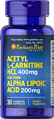 Acetyl L-Carnitine 400 mg with Alpha Lipoic Acid 200 mg 60 capsule เร่งเผาพลาญด้วยการผสาน ALA