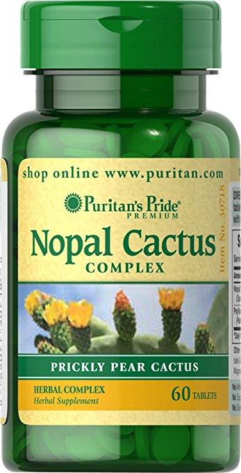 Puritan Nopal Prickly Pear Cactus 200 mg Complex 60 Tablets สารสกัดกระบองเพชรและPsyllium Husk