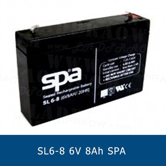 แบตเตอรี่แห้ง 6V 8Ah SPA SLA BATTERY SL6-8 Battery Lead Acid VRLA AGM