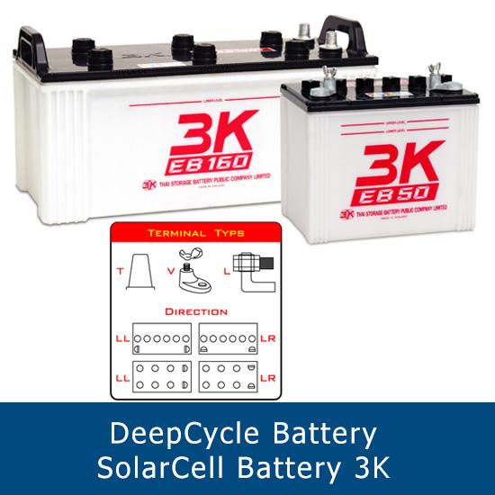 แบตเตอรี่ deep cycle โซล่าเซลส์ solar cell 3K EB65 LL 12V 80Ah ขั้ว LL