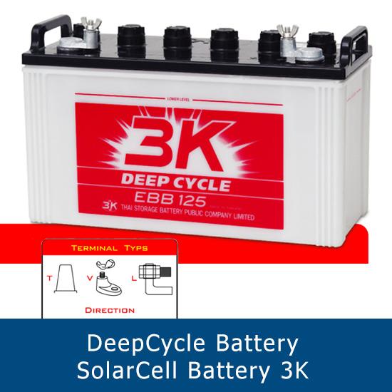 แบตเตอรี่ deep cycle โซล่าเซลส์ solar cell 3K EBB 125 V 12V 125Ah ขั้ว V