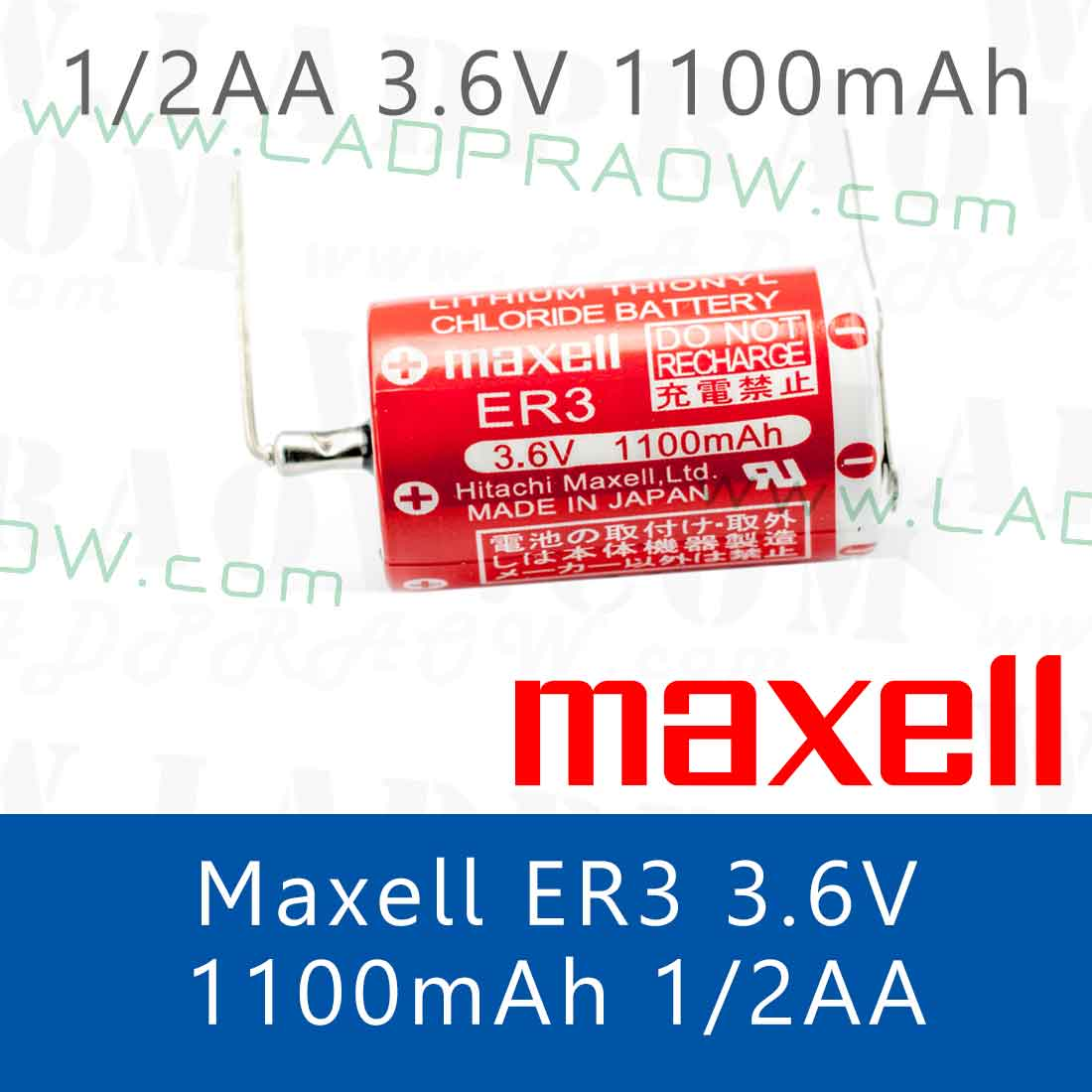 Maxell Lithium Battery ER3 แบตเตอรี่ลิเธียม 3.6V 1/2AA