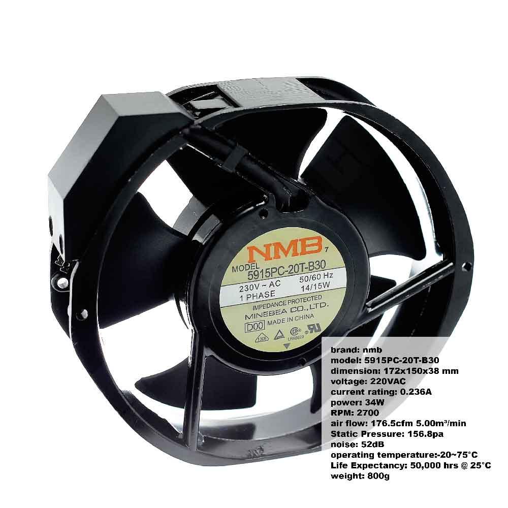 พัดลมระบายความร้อน 230VAC 14W หัวตัด NMB 5915PC-20T-B30 Cooling fan