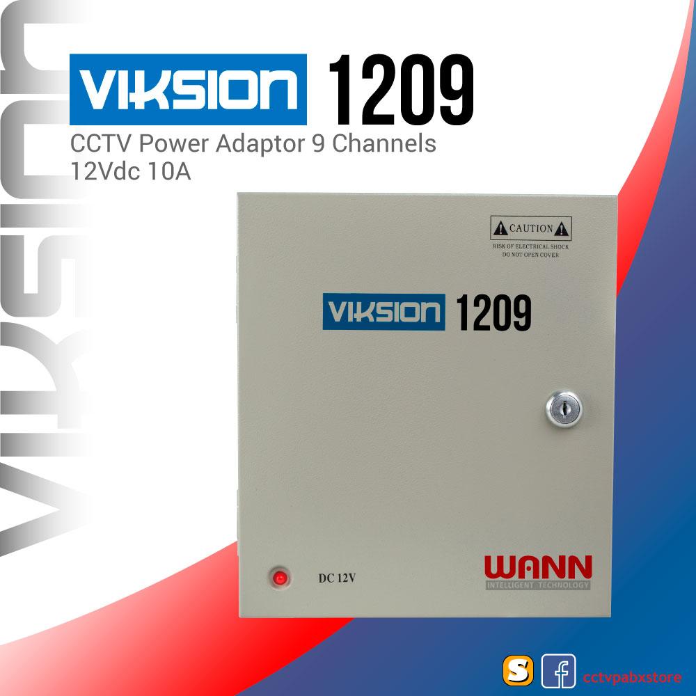 VIKSION 1209 ตู้จ่ายไฟ 9 ช่อง 12V 10A กล้องวงจรปิด 9 จุด CCTV Switching Power Supply