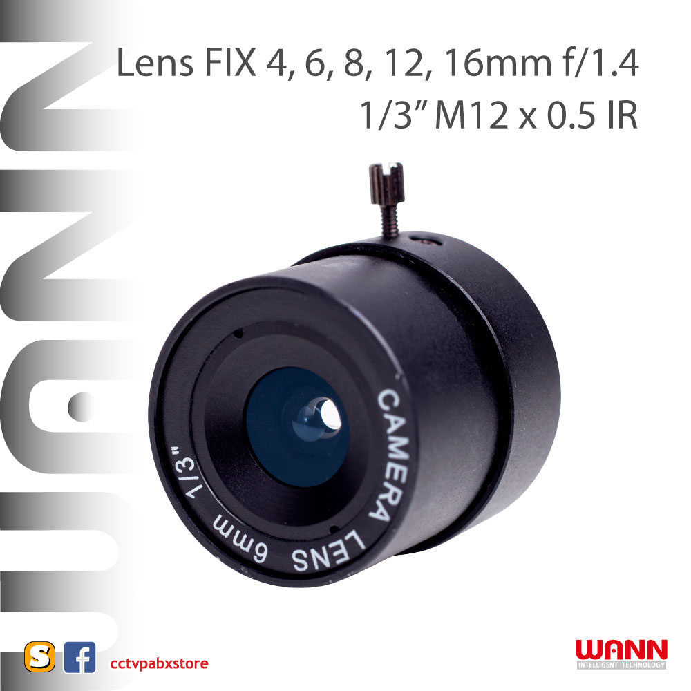 เลนส์กล้องวงจรปิด CCTV FIX Lens 4, 6, 8, 12, 16MM f/1.4
