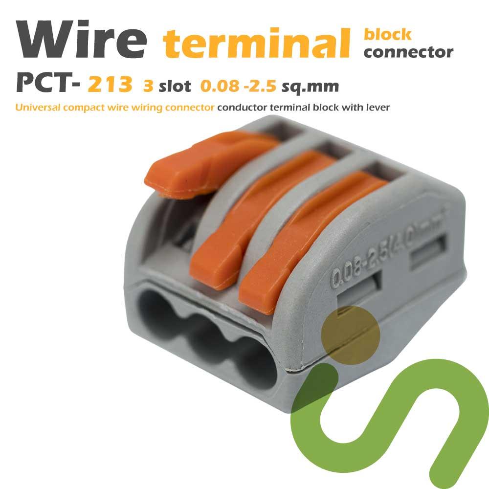 ขั้วต่อสายไฟ ขั้วต่อสายคอนโทรล ลูกเต๋าเชื่อมต่อสายไฟ 3 ช่อง OOP 0.08 -2.5 sq.mm PCT-213 10 ชิ้น Wire