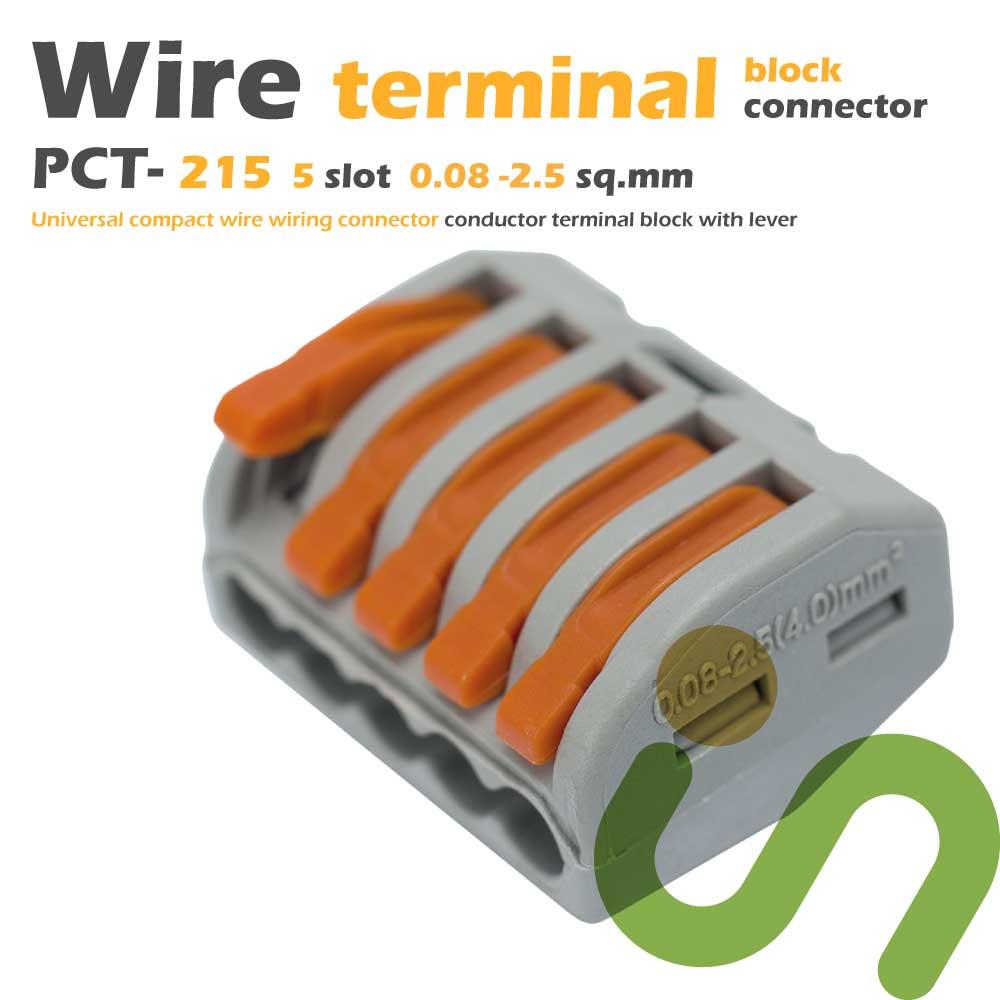 ขั้วต่อสายไฟ ขั้วต่อสายคอนโทรล ลูกเต๋าเชื่อมต่อสายไฟ 5 ช่อง OOP 0.08 -2.5 sq.mm PCT-215 5 ชิ้น Wire