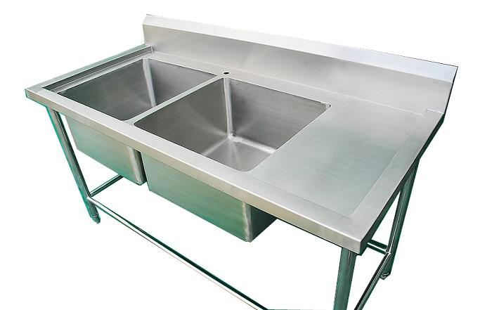 อ่างล้างจานสแตนเลส 2 หลุม (ลึกพิเศษ) ยึ่ห้อซันชายน์ ยาว 160 ซม.