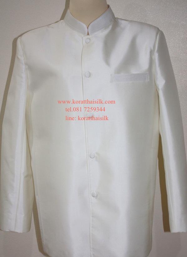 เสื้อคอพระราชทาน สีขาวงาช้าง  size XL(1) ราคา 2,190.-