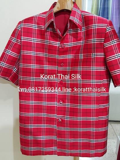 เสื้อไหมซาฟารี ลายสก๊อตสีแดงSize XL ราคา 2,090.- ลดเหลือ 1,900.-