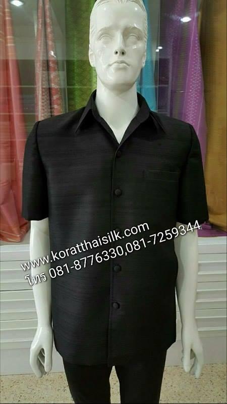 เสื้อไหมซาฟารี ไหมไทยสีดำ size M(2)ราคา1,890.-,Size XL(2) ราคา 2,090.-