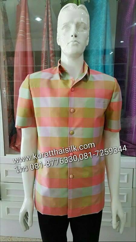 เสื้อซาฟารีไหม ลายสก๊อต size M ราคา 1,890.-