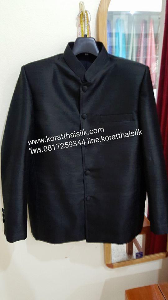 เสื้อไหม4เส้น สีดำ แขนยาวคอพระราชทาน size L(2) ราคา 2,390.-Xl(1) ราคา2,590.-