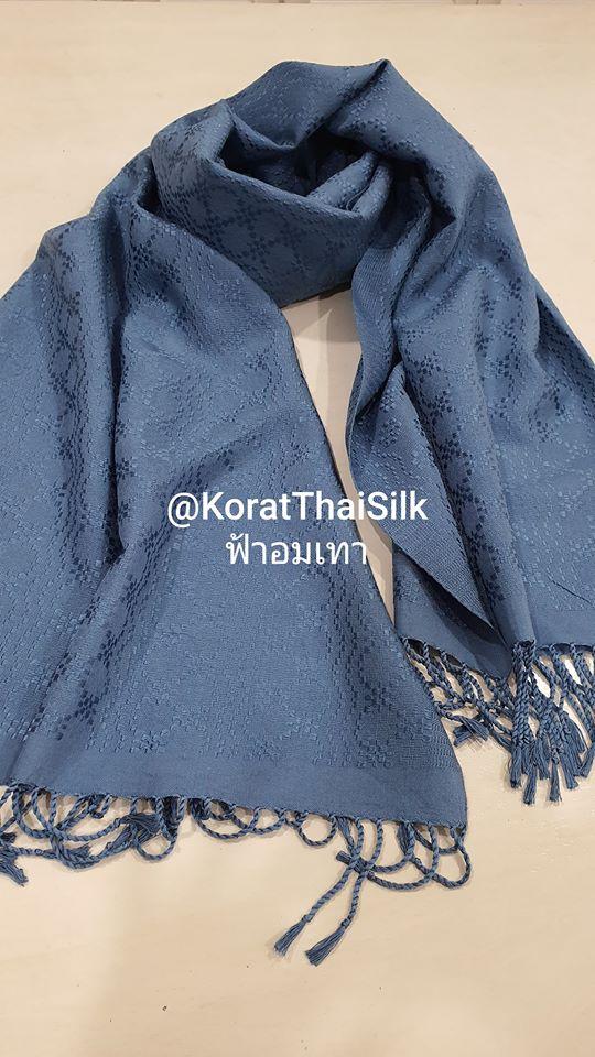ผ้าพันคอไหมแท้ ยกดอก สีฟ้าอมเทา