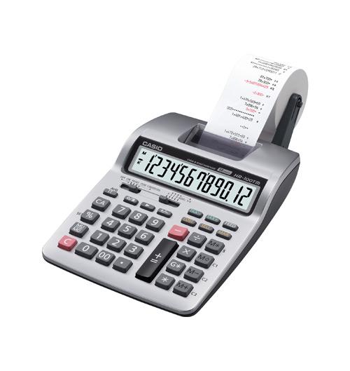 เครื่องคำนวณเลข CASIO HR-100TM-B ( 12 หลัก,มีกระดาษ )