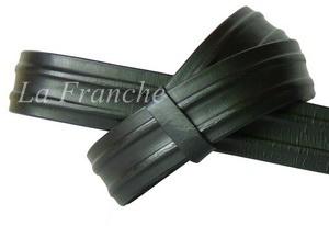 เข็มขัด Handmade สีดำ ลายจีบข้าง, กว้าง 1.3 นิ้ว