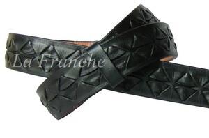 เข็มขัด Handmade สีดำ ถักลายหลามตัด, กว้าง 1.3 นิ้ว